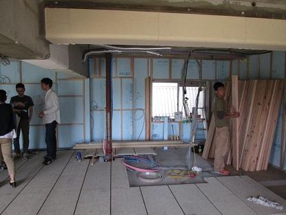 11N様邸木のマンションリノベーション フロアーの仕分け