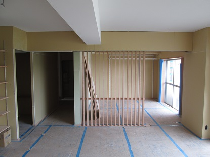 10 N様邸木のマンションリノベーション 天井珪藻土クロス