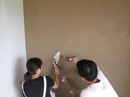 19 N様邸木のマンションリノベーション 左官塗り体験