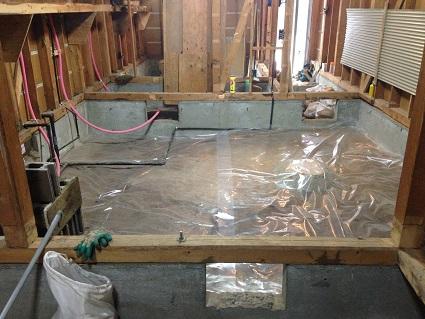 10 藏家の1階新事務所改装工事土間防湿シート