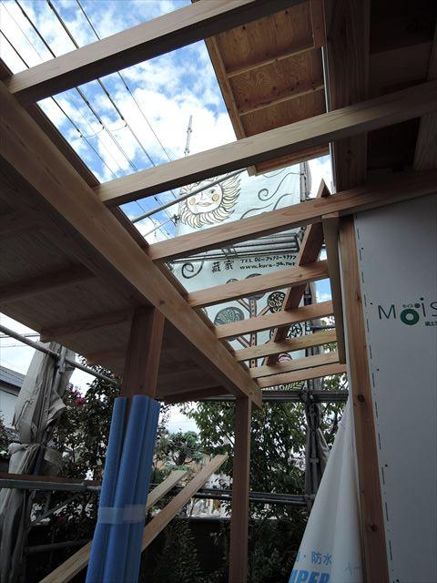 1 西宮H様邸木の家新築現場 下屋板張り
