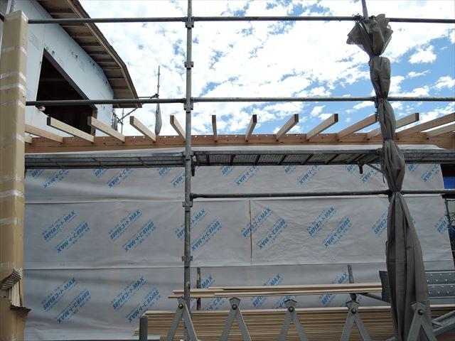 3 西宮H様邸木の家新築現場 下屋垂木