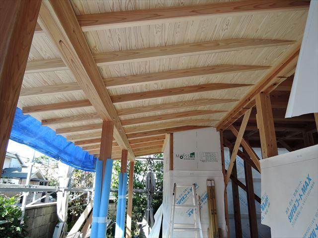 12 西宮H様邸木の家新築現場 下屋軒天