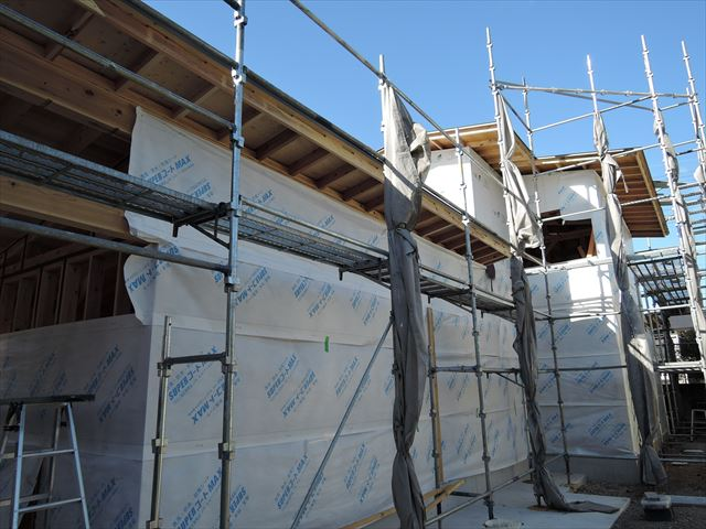 20 西宮H様邸木の家新築現場 外観