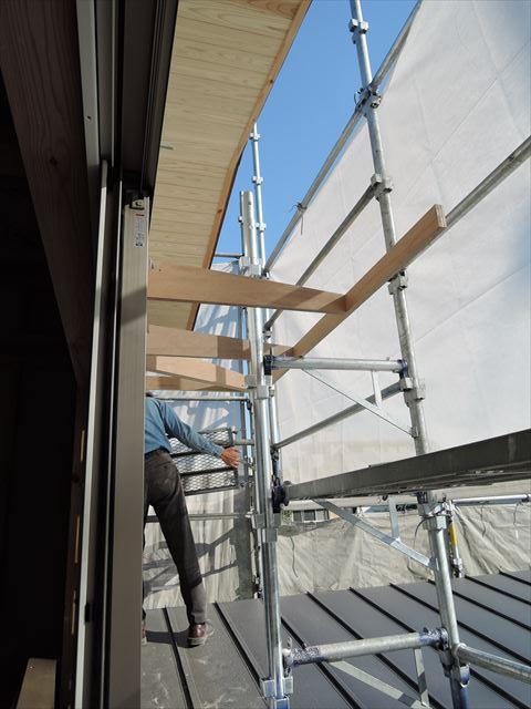 41 西宮H様邸木の家新築現場 庇