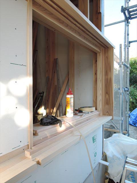 45 西宮H様邸木の家新築現場 木製窓枠加工