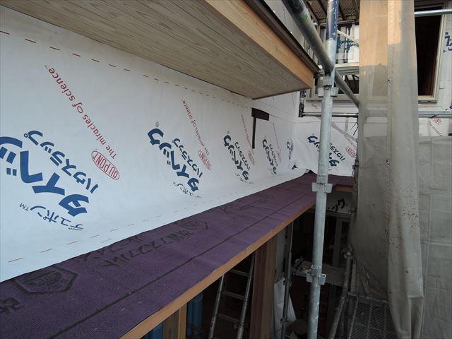 55 西宮H様邸木の家新築現場 掃き出し庇