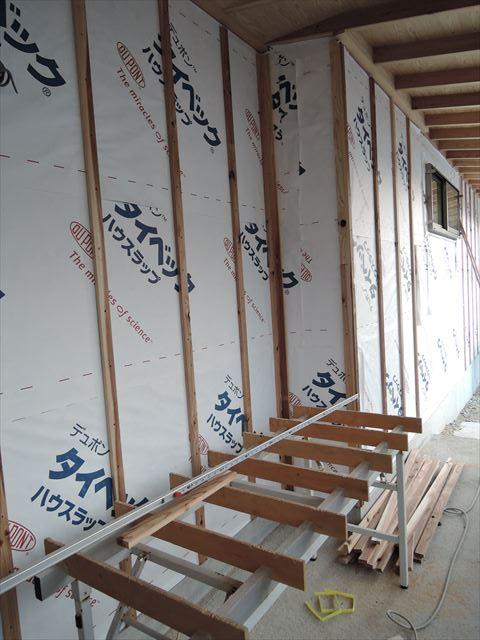 56 西宮H様邸木の家新築現場 縦胴縁