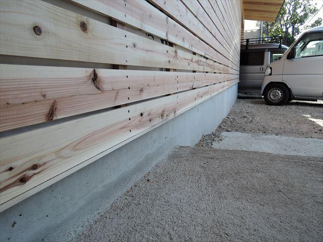 58 西宮H様邸木の家新築現場 バラ板下アルミ見切り