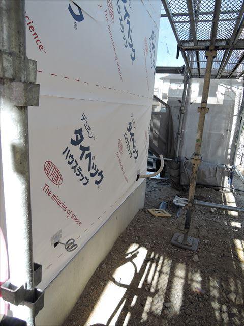 61 西宮H様邸木の家新築現場 タイベック
