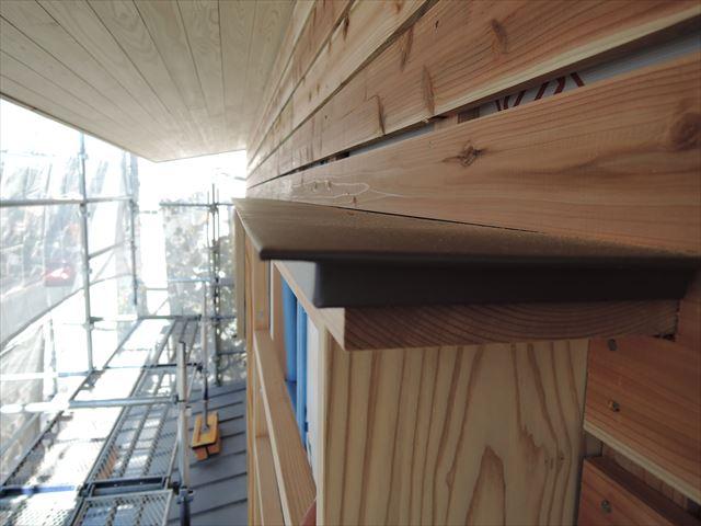 63 西宮H様邸木の家新築現場 2階木製窓庇