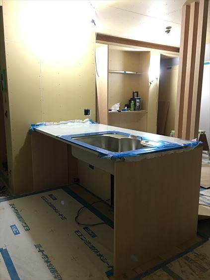 70 東三国のM様邸木のマンションリノベーション製作キッチン