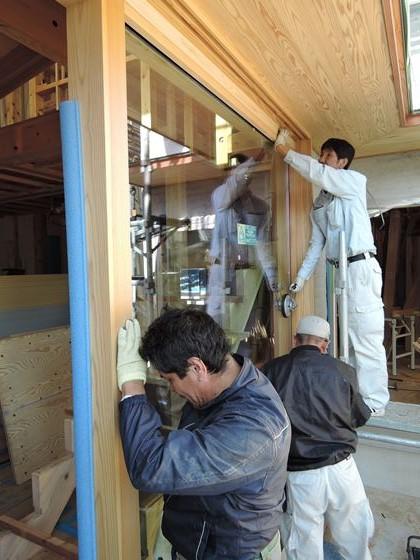 43 西宮H様邸外部木製建具ガラス入れ