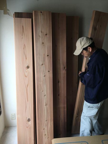 19 貝塚U様邸国産材を使用した木のマンションリノベーション 吉野杉搬入_R